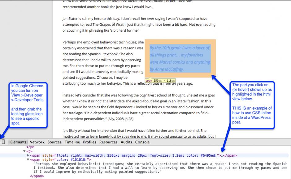 UsingGoogleChromeDeveloperTool-SeeCSSInline